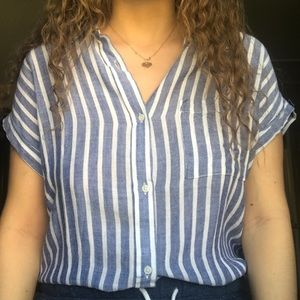 Women's blue and white striped button down shirt